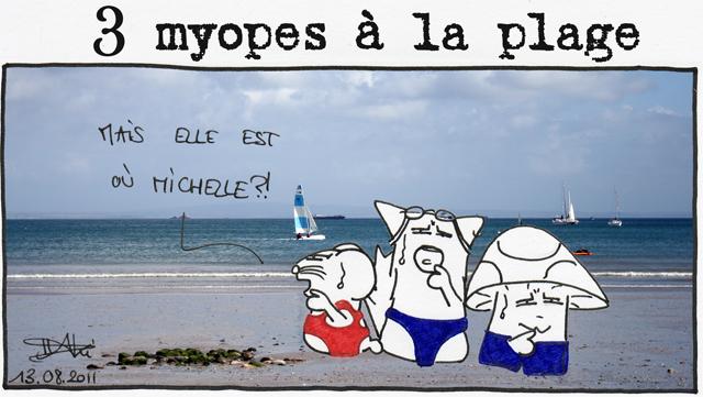 3 myopes à la plage