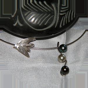 Hirondelle de Lalique, perles de Tahiti