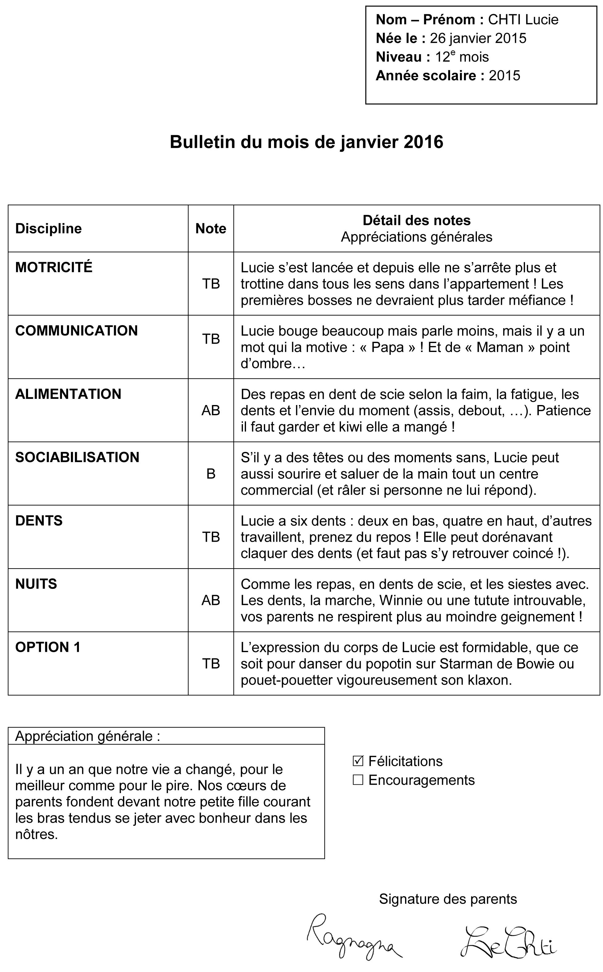 Bulletin 12 mois 1 an Lucie